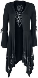 Gothicana X Anne Stokes - musta hupullinen neulepusero nyöreillä ja leveillä hihoilla