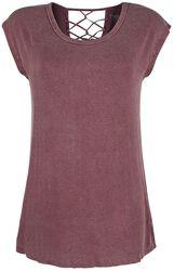Viininpunainen T-paita koristenauhoilla selkämyksessä