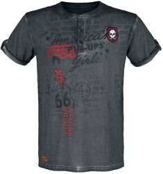 Rock Rebel X Route 66 - harmaa T-paita Pin-Up-painatuksella