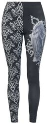 Gothicana X Anne Stokes - mustat leggingsit painatuksella