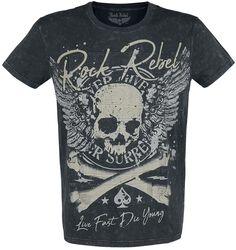 Schwarzes T-Shirt mit Waschung und Print
