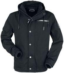 Black between-seasons jacket with labeldetails