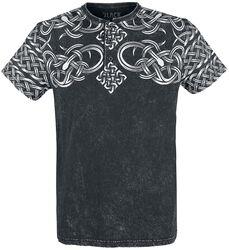 schwarzes gewaschenes T-Shirt mit Knopfleiste