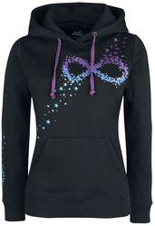 Schwarzer Kapuzenpullover mit Infinity-Symbol aus Sternen