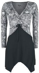 Musta/harmaa pitkähihainen paita nyöreillä ja painatuksella