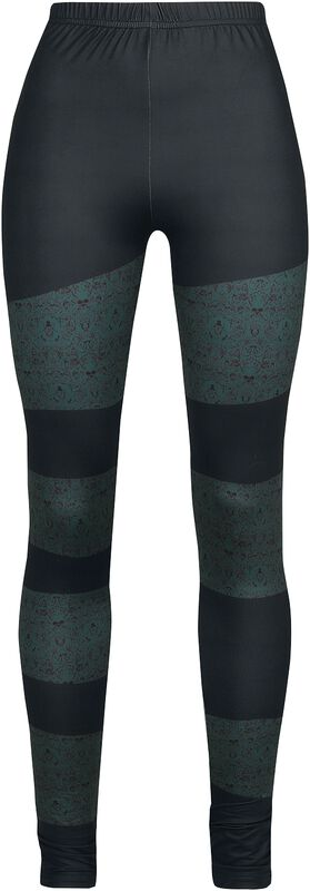 Mustat leggingsit raidoilla ja pääkallokuvioilla