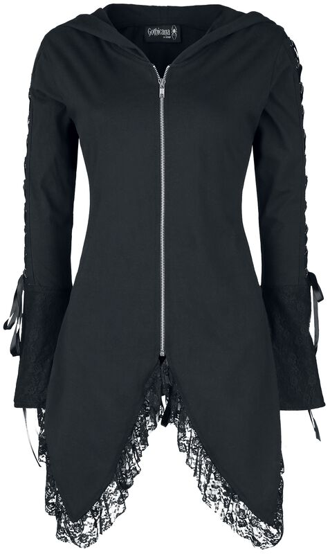 Gothicana Hooded Jacket with Lace and Lace-Up Details