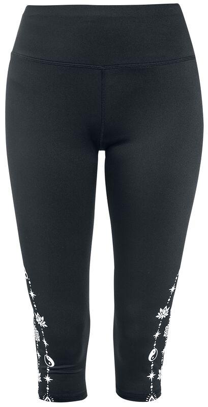Sport and Yoga - mustat 3/4-pituiset leggingsit sivupainatuksella