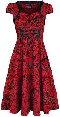 Red Flocked Victorian Dress