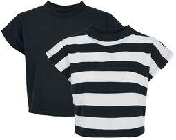 Ladies Stripe Short Tee T-paita - 2 kpl setti