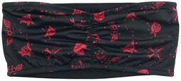 Musta bandeau-toppi punaisella all-over-painatuksella