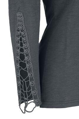 Harmaa pitkähihainen paita nappilistalla ja koristeompeleilla