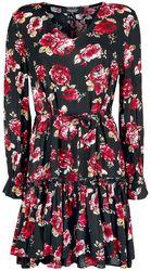 Musta/punainen mekko all-over-kukkaispainatuksella