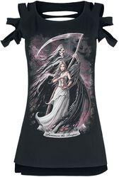 Gothicana X Anne Stokes - musta T-paita painatuksella ja leikkauksilla