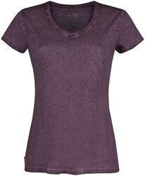 Violetti T-paita V-kaula-aukolla