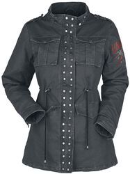 Tummanharmaa takki, jossa painatus ja niittejä