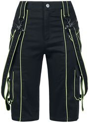 Schwarze Shorts mit Neon-Nähten und Zierbändern