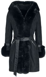 Black Hooded Edge To Edge Coat