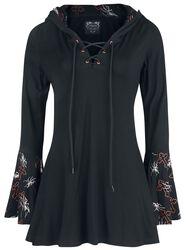 Gothicana X Anne Stokes - musta pitkähihainen paita nyöreillä, painatuksella ja isolla hupulla