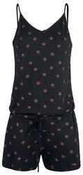 Lyhyt musta haalari punaisilla tähdillä