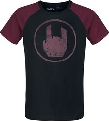 Musta T-paita punaisella Rockhand-painatuksella