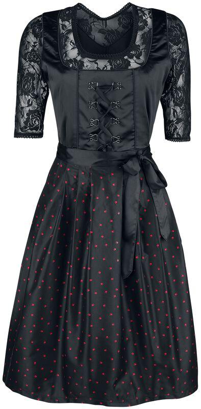 Musta dirndl-mekko pitsipuserolla ja Rockhand-essulla