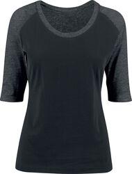 Naisten kontrastivärinen raglan T-paita 3/4-hihoilla