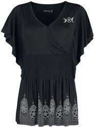 Schwarzes T-Shirt mit Print und Raffung