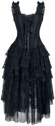 Schwarzes Gothic Kleid mit Korsage und Volant-Rock aus Spitze und Tüll