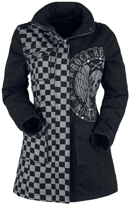 Musta/harmaa takki painatuksella ja niiteillä