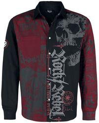 Musta/punainen paita painatuksella