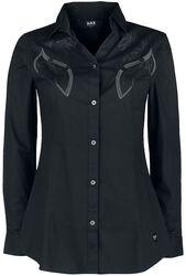 Musta pitkähihainen paita kelttityylisellä painatuksella