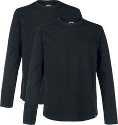 Musta pitkähihainen paita pyöreällä pääntiellä (2 kpl setti)