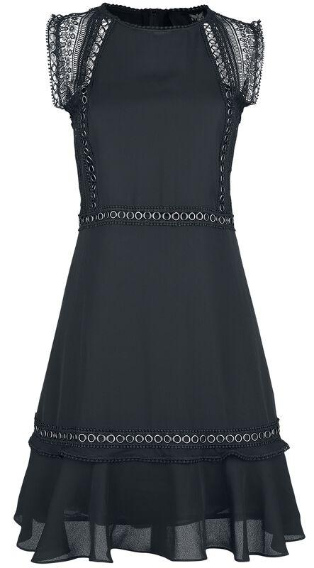 Musta mekko rengasniiteillä ja pitsikoristeilla
