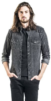 Tummanharmaa paita, jossa erikoispesu ja epoletit