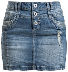 Ladies Destroyed Denim Skirt