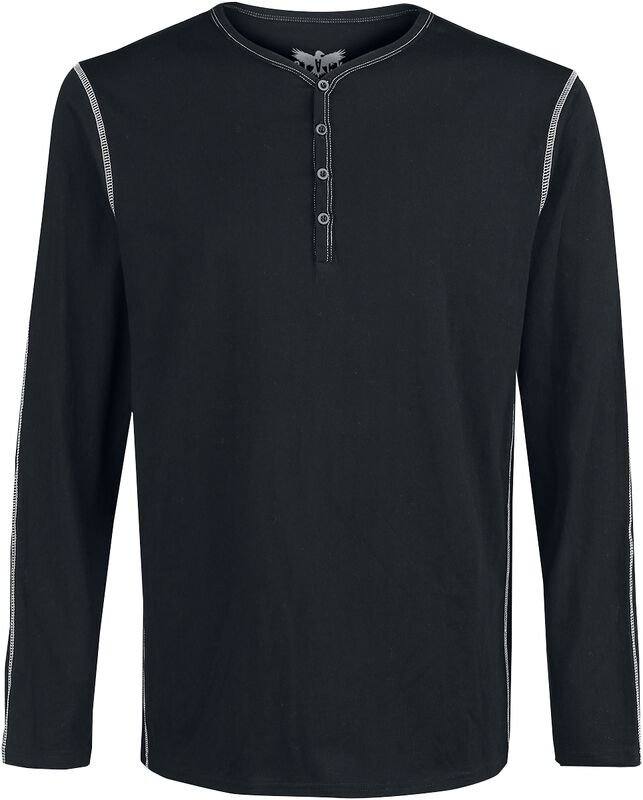 Black long sleeve shirt with buttons and contrasting seams