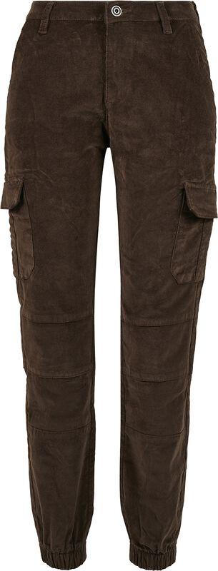Ladies High Waist Cargo Corduroy Trousers reisitaskuhousut