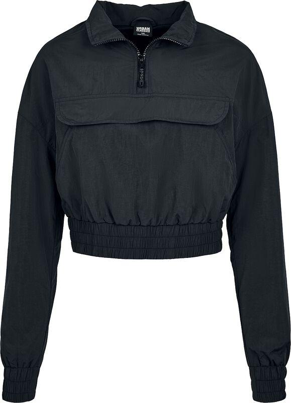 Ladies Cropped Crinkle Nylon Pull Over Jacket tuulitakki