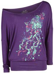 Violetti pitkähihainen paita pyöreällä pääntiellä ja painatuksella
