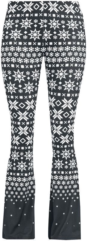 Schwarz/weiße Leggings mit Schlag und Alloverprint
