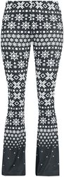 Mustat/valkoiset leggingsit levenevillä lahkeilla ja all-over-painatuksella