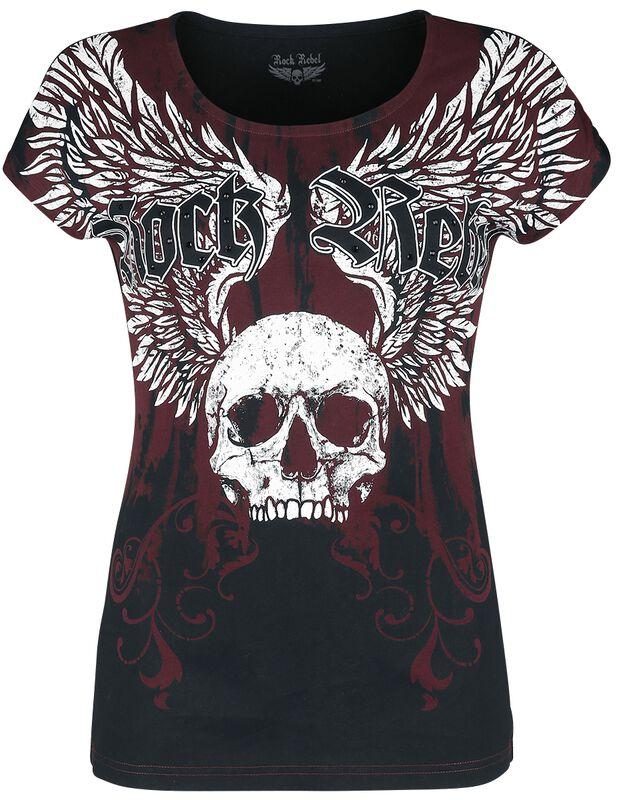 Musta/punainen T-paita painatuksella ja pyöreällä pääntiellä