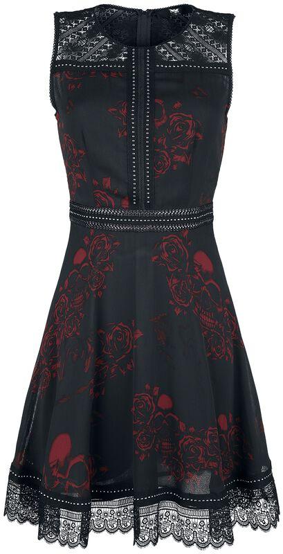 Musta mekko all-over-painatuksella, niiteillä ja pitsikoristeilla