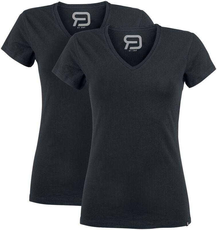 Musta T-paita V-kaula-aukolla (2 kpl setti)