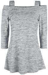 Weiß/Graues melange Schulterfreies Langarmshirt mit Trägern