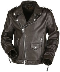 Ruskea bikertyylinen nahkatakki