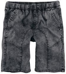 Graue Shorts mit Schnürung und Gummibund