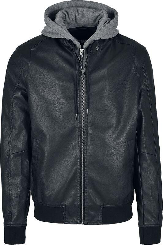 Fleece Hooded Fake Leather Jacket keinonahkatakki