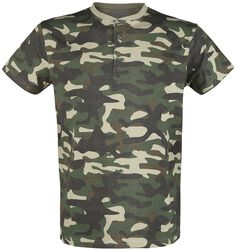 Camouflage T-shirt with Button Placket